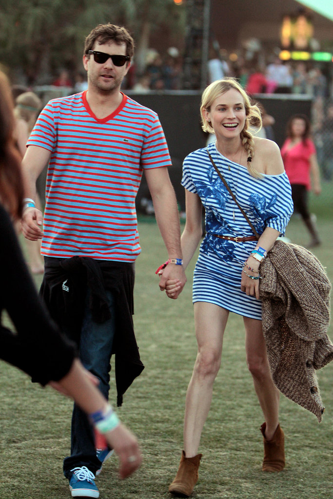Joshua Jackson and Diane Kruger matched in stripes and held hands on Sunday.