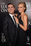 Costars Zac Efron and Taylor Schilling got together at the premiere for The Lucky One in LA.