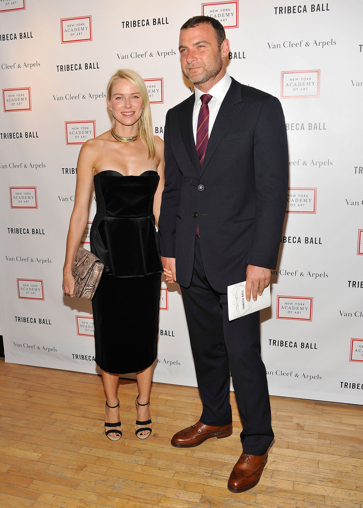 Naomi Watts and Liev Schreiber were hand in hand at the Tribeca Ball in NYC.