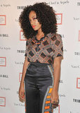 Solange Knowles wore a printed top and matching silk pants to the 2012 Tribeca Ball in NYC.