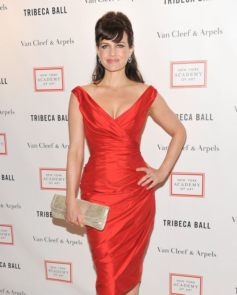 Carla Gugino wore a bright red dress and gold clutch to the 2012 Tribeca Ball in NYC.
