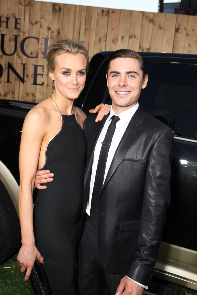 Zac Efron posed with co-star Taylor Schilling at The Lucky One premiere in LA.