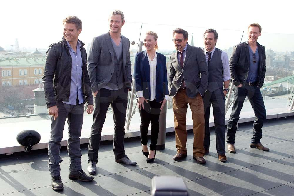 Mark Ruffalo, Tom Hiddleston, and their castmates lined up for an Avengers cast photo.