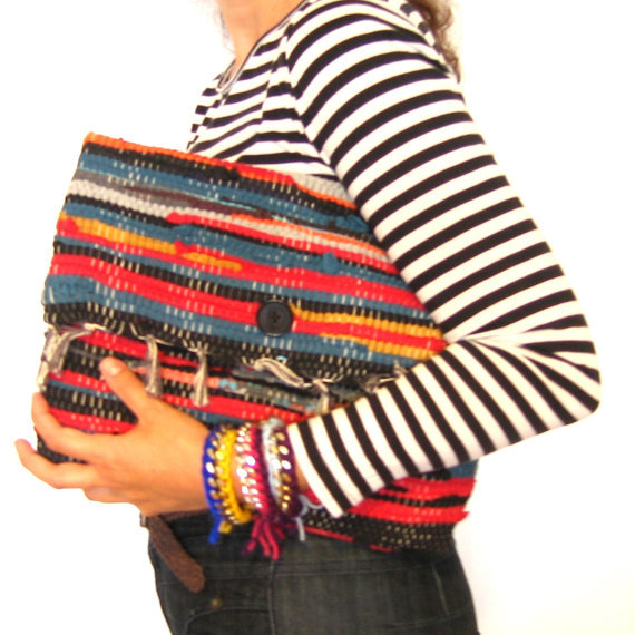Recycled rug laptop bag ($98)