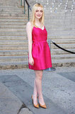 Dakota Fanning wore a lipstick-pink Lanvin dress to the Vanity Fair Party at the 2012 Tribeca Film Festival.