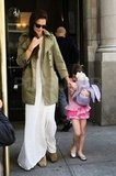 Katie Holmes and Suri Cruise left their NYC apartment to celebrate Suri's 6th birthday.