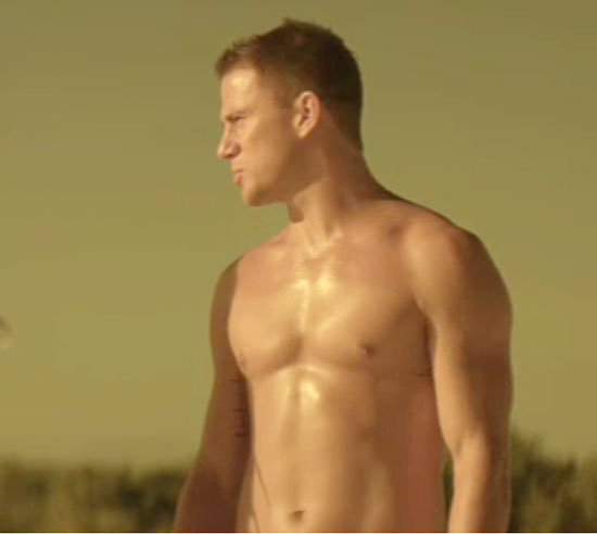 Channing Tatum glistens on the beach.