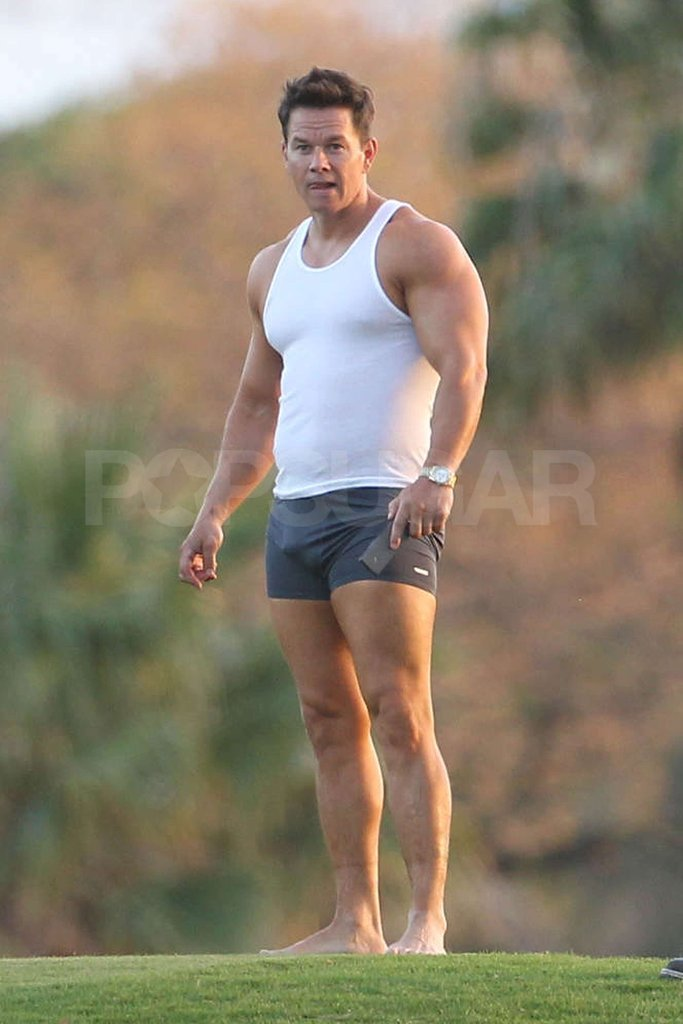 Mark Wahlberg wore boxer briefs and a white tank top on the set of Pain and Gain in Miami.