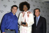 Jimmy Kimmel and Macy Gray joined Dick Clark for the American Music Awards nominations announcement in September 2003.