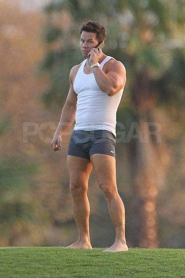 Mark Wahlberg chatted on his cell phone wearing nothing but boxer briefs and a white tank top on the set of Pain and Gain in Miami.