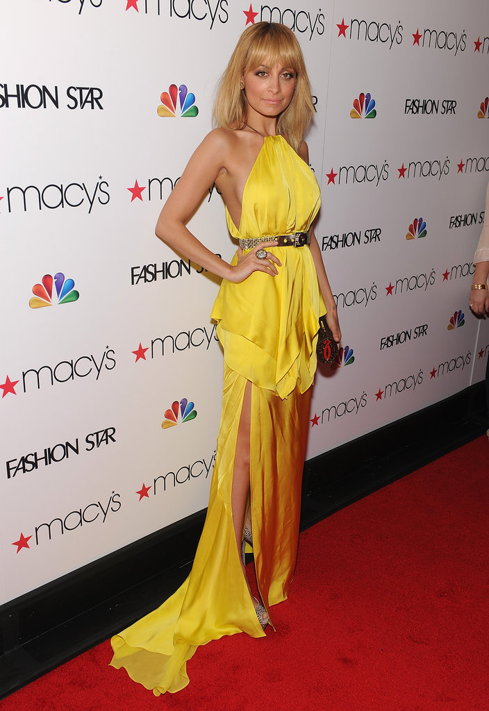 Nicole Richie went for maximum impact on the red carpet in a bold-hued Julien Macdonald gown.
