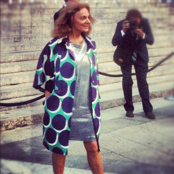 Diane von Furstenberg wore one of her own creations — this time in a colourful retro print — to the Tribeca Film Festival kickoff.