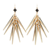 A mix between punk rock and ethnic glam, these spiky earrings are finished off with rhinestone accents and faux-leather triangles. 