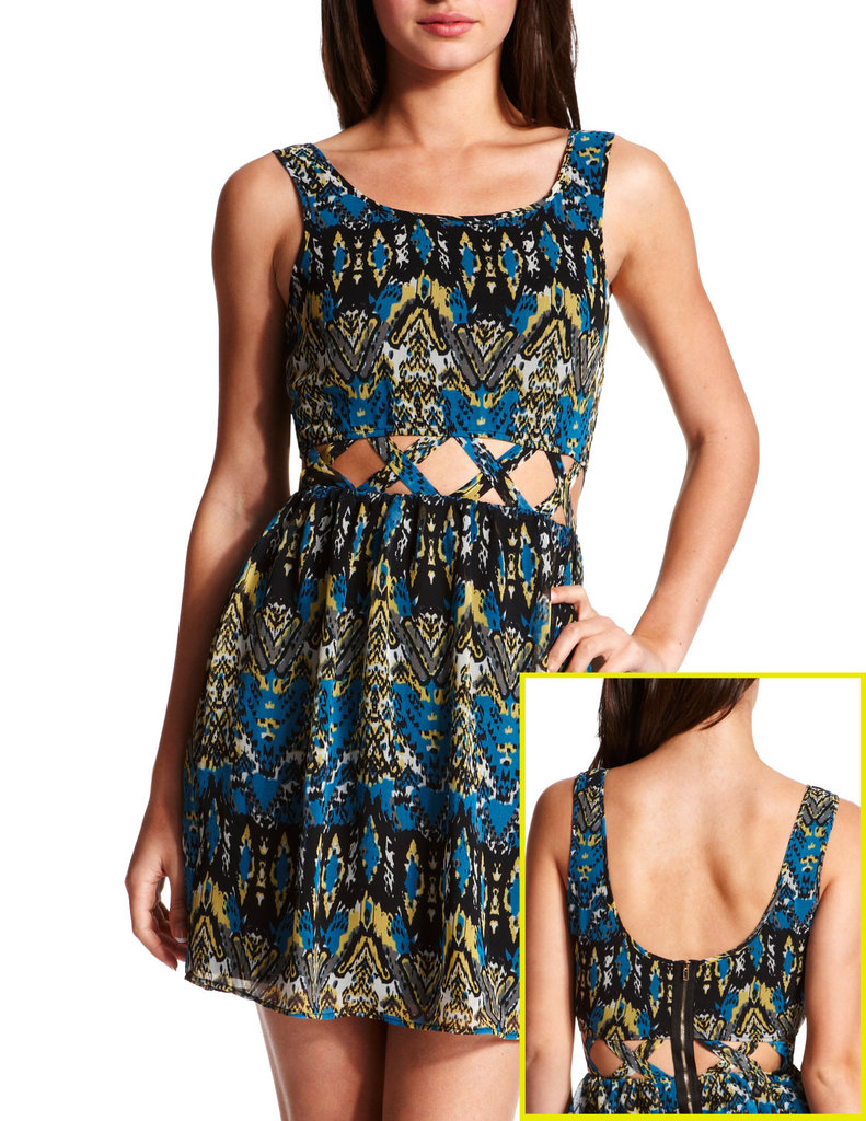 Rihanna and Jennifer Lawrence are just a few celebs who have been spotted wearing cutout dresses this season. The loud tribal pattern practically conceals the lattice cutout waist, so you can be a little edgy without feeling overly revealing.  Charlotte Russe Lattice-Waist Tribal Dress ($30)