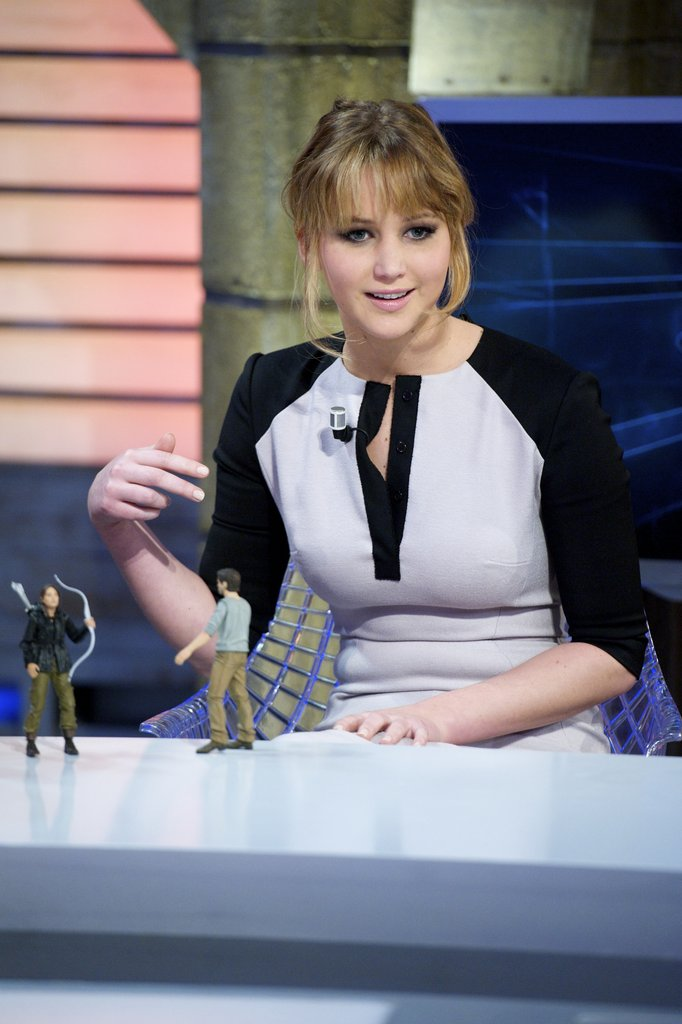 Jennifer Lawrence was given some Hunger Games action figures.
