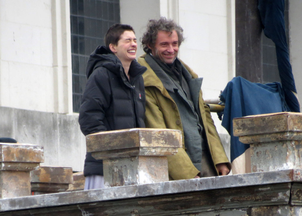 Anne Hathaway and Hugh Jackman cracked up between takes.