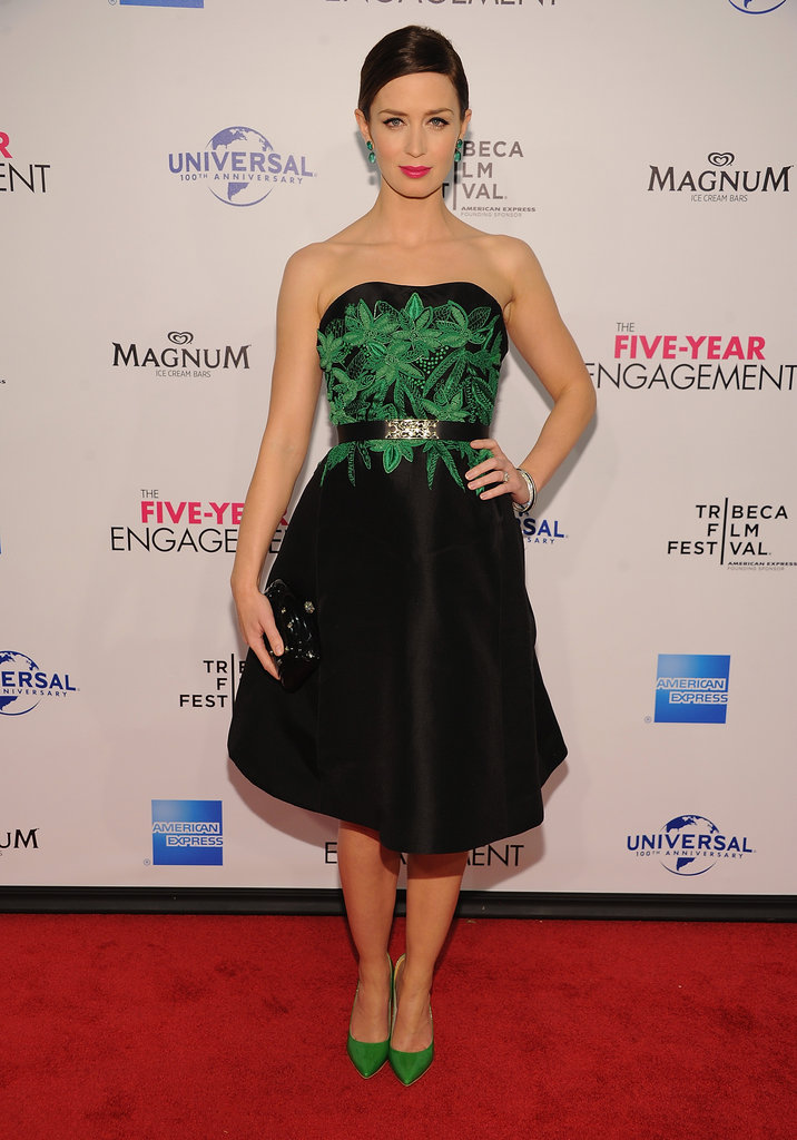 Emily Blunt posed in a Jason Wu dress paired with green shoes to the Five-Year Engagement premiere during the 2012 Tribeca Film Festival.