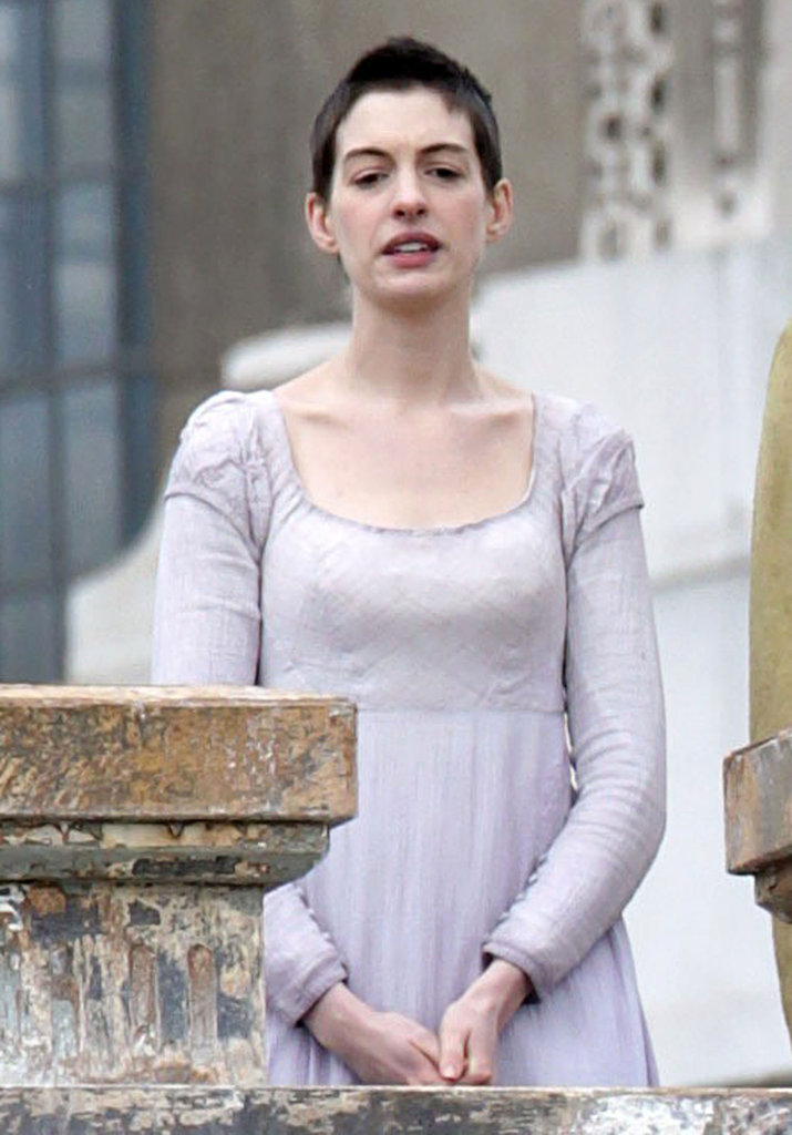 Anne Hathaway is sporting short hair for the role.
