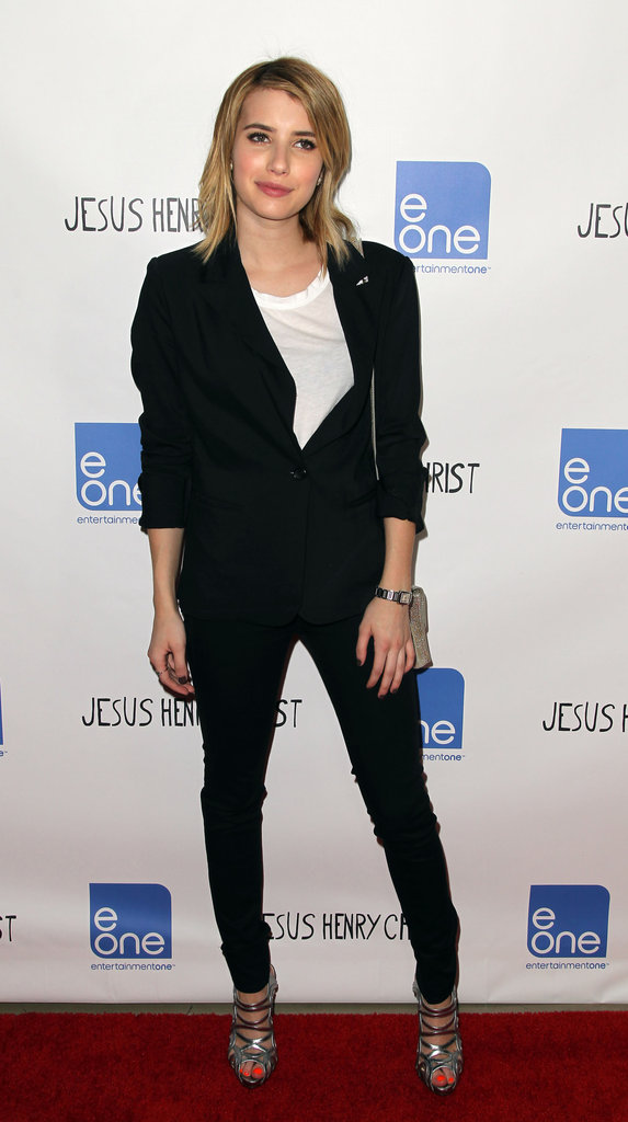 Emma Roberts looked stylish in a black blazer at the Jesus Henry Christ premiere.