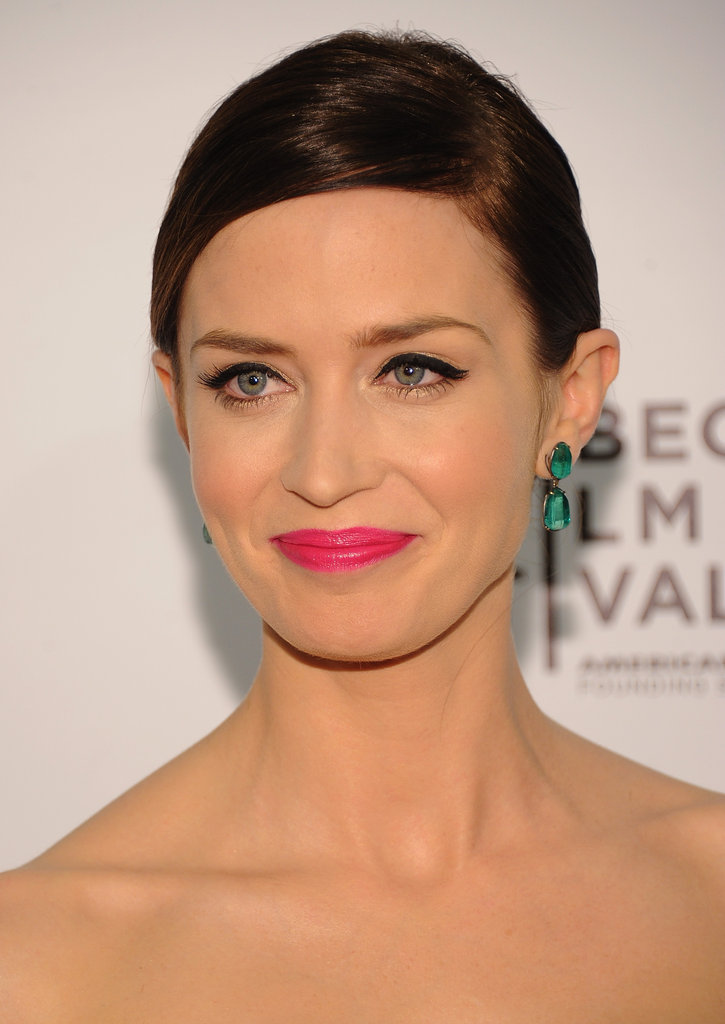 Emily Blunt wore emerald green earrings and a Jason Wu dress to the Five-Year Engagement premiere during the 2012 Tribeca Film Festival.