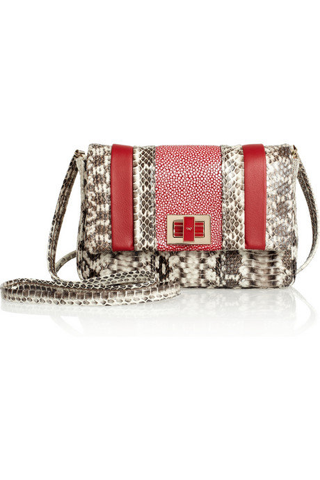 The mix of snakeskin and stingray offset by red leather detail is super textural and super sexy. Anya Hindmarch Stripy Gracie Mini Shoulder Bag ($995)