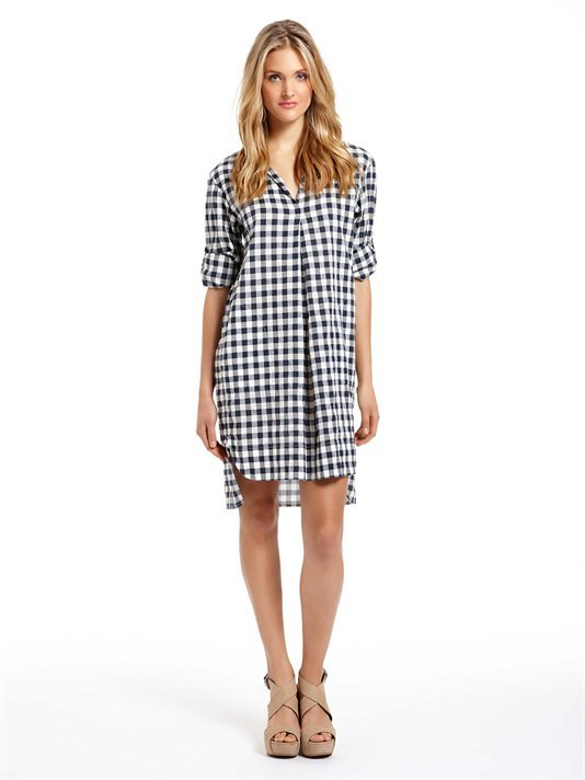 How cool would this shirtdress look belted and finished with a pair of go-anywhere neutral ankle boots.  DKNY Pure Plaid Shirt Dress ($245)