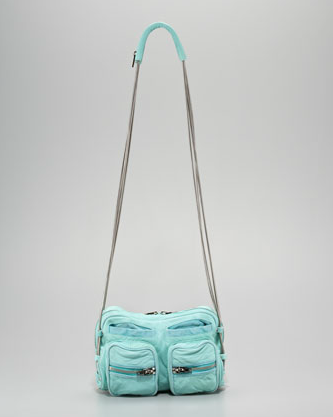This ultra soft, slouchy turquoise lambskin is paired with coiled chain straps and exposed oversize zippers. Alexander Wang Brenda Coiled Chain Shoulder Bag ($725)