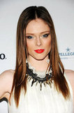 Coco Rocha showed a new way to wear the statement necklace by layering it over her high-neck top.