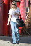 Rachel McAdams wore a white tee shirt and jeans for a day out at the salon in LA.