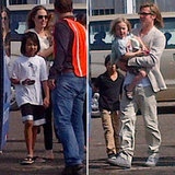 Brad Pitt and Angelina Jolie Arrive For an Engagement Vacation With the Kids