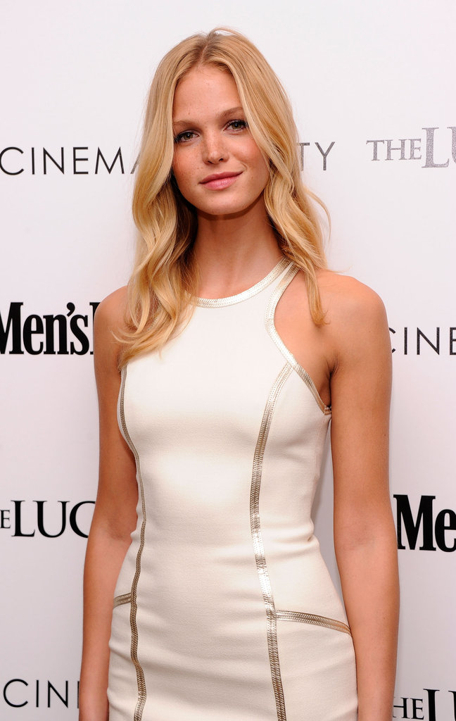 Erin Heatherton wore a white dress to the Cinema Society and Men's Health screening of The Lucky One in NYC.