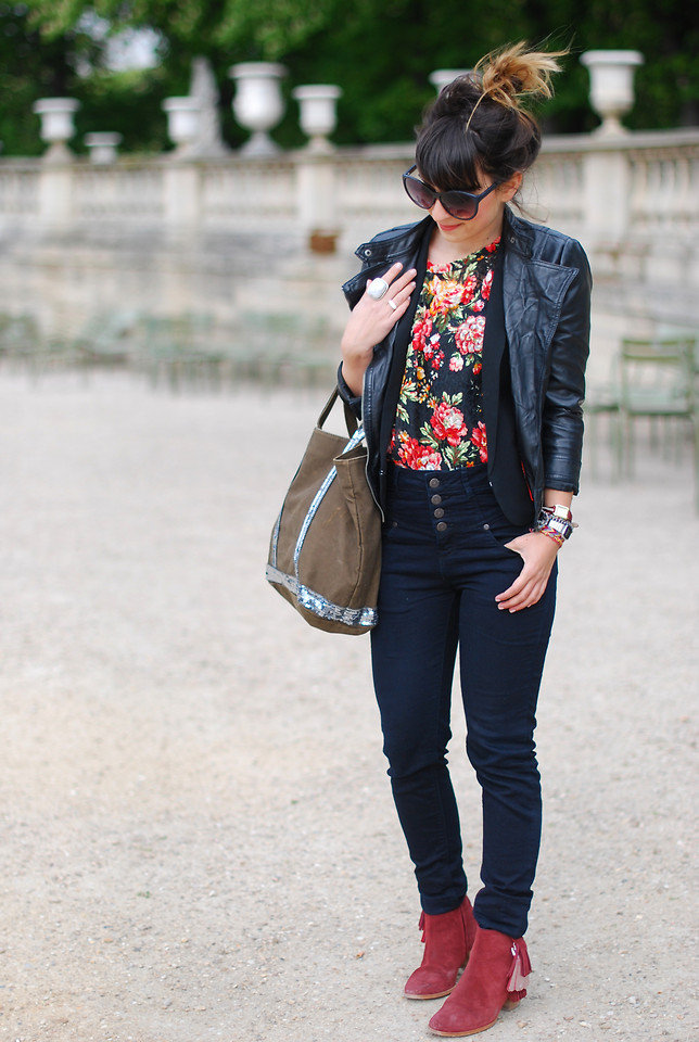 For cooler Spring days, top your look with a leather jacket and suede booties. Photo courtesy of Lookbook.nu
