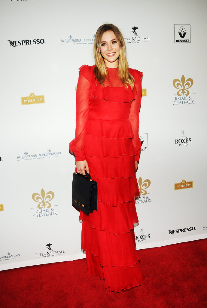 Elizabeth Olsen headed to the Grand Relais & Chateaux Grands Chef Dinner decked out in a diaphanous red Valentino gown.