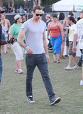 Alexander Skarsgard looked casual in a gray tee shirt and sneakers at Coachella's second weekend.