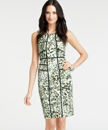 Ann Taylor Sleeveless Scape Print Sheath Dress ($168)