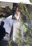 Rihanna posed in a white gown for a Harper's Bazaar shoot in Malibu.