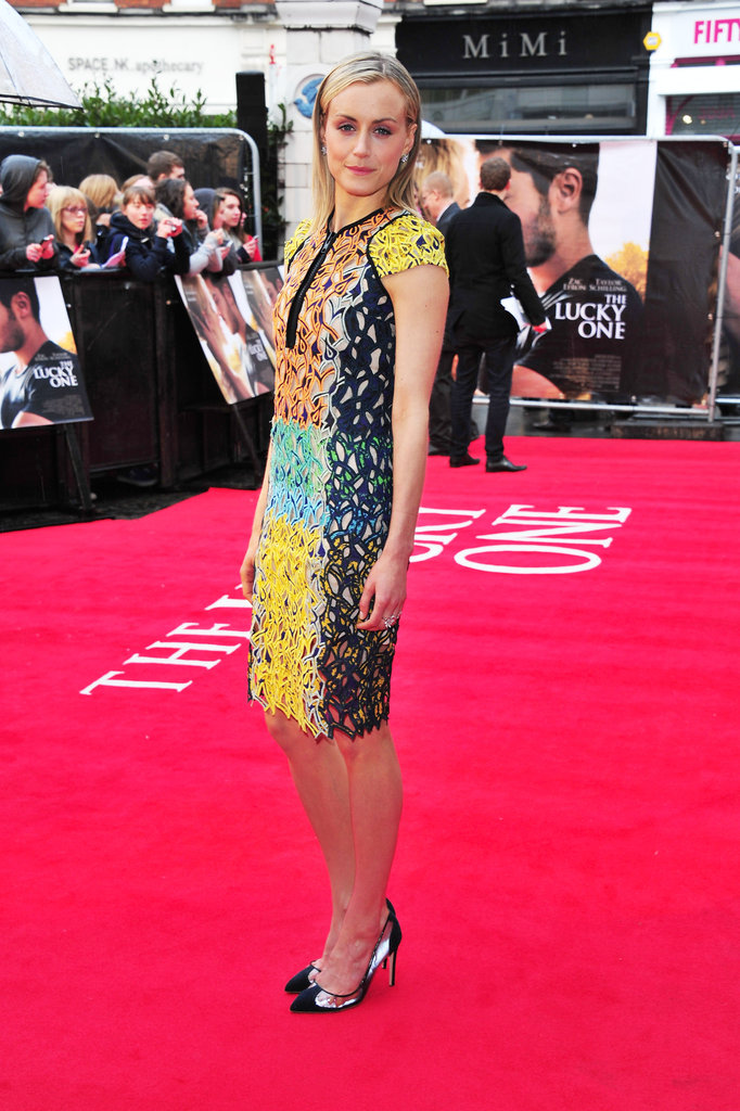 Taylor Schilling stepped onto the red carpet in a Peter Pilotto dress for the European premiere of The Lucky One.