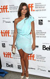A tan and toned Penélope Cruz wore a sexy blue minidress at the Toronto International Film Festival in September 2009.