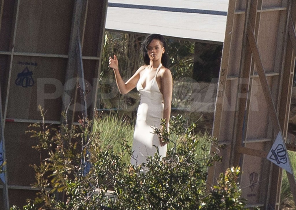 Rihanna was all done up for a shoot for Harper's Bazaar in Malibu.