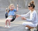 Sarah Jessica Parker and her daughters Marion Broderick and Tabitha Broderick had fun on the swings at a park in NYC.