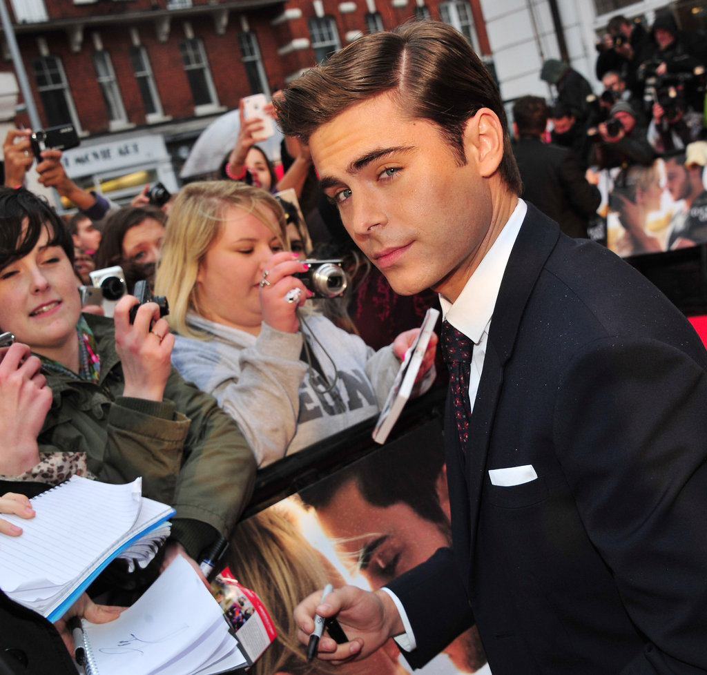 Zac Efron spent some time with fans outside of the European premiere of The Lucky One.