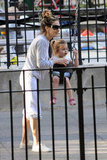 Sarah Jessica Parker pushed her daughter Tabitha Broderick on the swings during a day at the park in NYC.