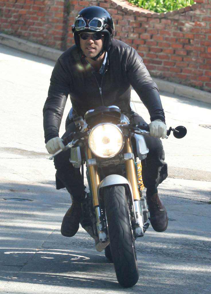 Ryan Reynolds rode his motorcycle around LA.