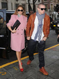 Jennifer Lopez emboldened a pink coat with a pair of vibrant Charlotte Olympia pumps.