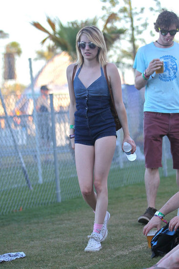 Emma Roberts showed off her stems in a romper.
