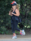 Reese Witherspoon exercised outside with a friend in Brentwood.