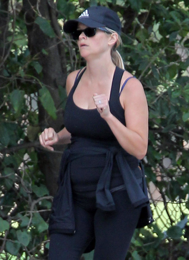 Reese Witherspoon sported a hat and sunglasses as she went for a jog in Brentwood.