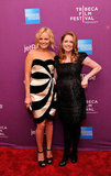 Jenna Fischer and Malin Akerman coordinated in black and white dresses.