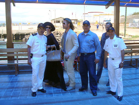 Brad Pitt and Angelina Jolie made their way through the airport leaving the Galapagos Islands.