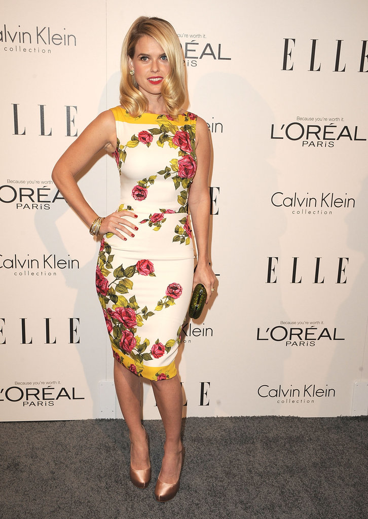 A floral-print sheath is right on trend at Elle's Annual Women in Hollywood Tribute in October 2011.